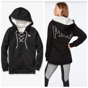 VS PINK SHERPA HOOD LACE-UP PULLOVER L